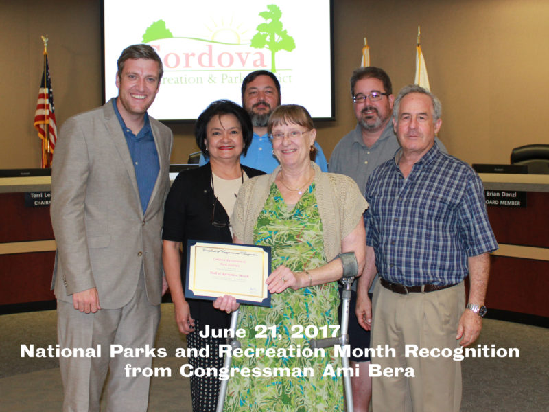 Board of Directors accepting recognition certificate for Nat'l Parks & Rec Month from Congressman Ami Bera's Office
