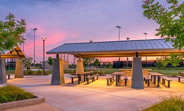 picnic pavilion during sunset
