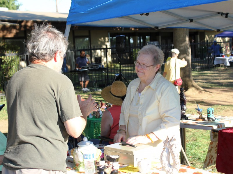 Community members shopping at Party in the Park event