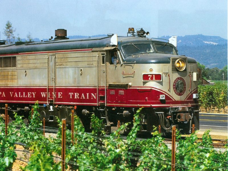 Napa Valley Wine Train travels along the rail route in the valley